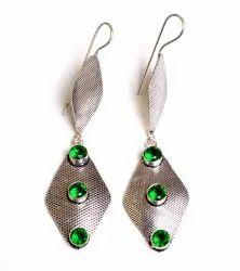 Blue Topaz Gemstone Silver Plated Women Dangle Earrings