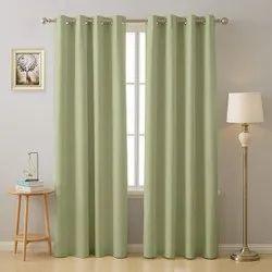 Silk Plain Light Green Blackout Curtains, For Window, Length: 5ft