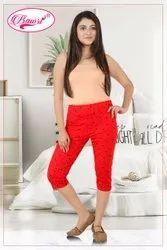 Hosiery RED Cotton Capri Leggings, 190, Size: Large