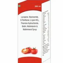 Lycopene, Niacinamide, D-Panthenol, L-Lysin HCL, Thiamine Hydrochloride, Biotin, Multimineral Syrup
