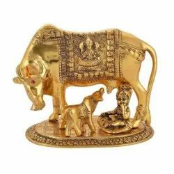 Gold Plated Kamdhenu Cow And Calf With Kanha JI For Home Decoration & Corporate Gift