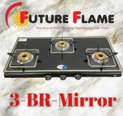 3 Burner Rectangular Glass Top Gas Stove, For Kitchen