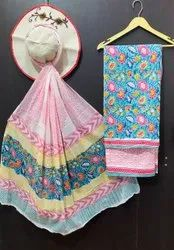Cotton With Cotton Dupptta Hand Block Printed Unsitched Suits, Batik Prints, Yellow