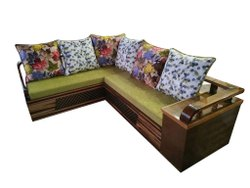 L Shape Modern Wooden Corner Sofa Set, Seating Capacity: 5 Seater, Size: 9 X 6ft