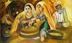 Indian Village Scene Canvas Painting