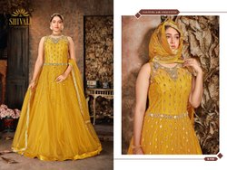 Yellow And Peacock Blue Women Wedding Wear + Party Wear Net Handwork Gown
