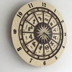 ofthewoodwork.com natural wood colours Zodiac Sign Wooden Wall Clocks, For Home