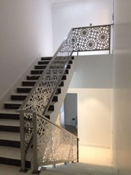 Black Stair Laser Cutting Railing, For Home,Residential