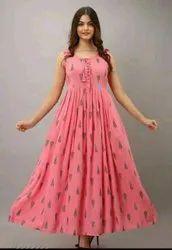Ankle Length Round Neck Ladies Rayon Printed Sleeveless Kurti, Size: M To Xxl
