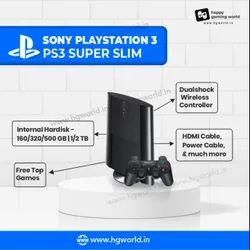 Black PlayStation 3 Sony PS3 Super Slim 3 Tb 262 Top Games Refurbished
