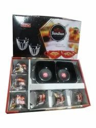 Black Meetha Bandhan Glass Set, For Home, 6 Glasses With 2 Bowls