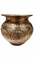 Golden Round Copper Ashtalakshmi Lota, For Worship, Capacity: 500ml