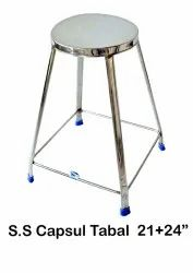 Silver Powder Coated Stainless Steel Capsule Stool, For Home, Size: 21x24inch
