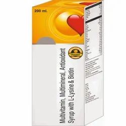 Multivitamin, Multiminerals, Antioxidant Syrup With L- Lysine & Biotine Syrup