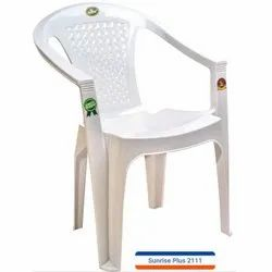 White Plastic Chair With Armrest