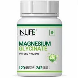 INLIFE Magnesium Glycinate Supplement 550mg with Zinc 10mg (as Zinc Picolinate) - 120 Veg Capsules