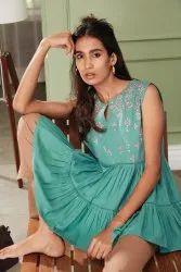 Janasya Women's Green Cotton Flex Top(J0203)