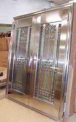 Polished Designer Stainless Steel Doors, Double Door, Thickness: 18 Mm