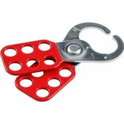 Scissor-action Red Steel Group Lockout Hasps, Multipurpose
