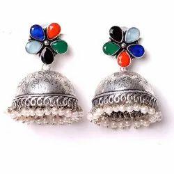 Garnet, Multi Gemstone Oxidized Designer Jhumka Earrings Women Jewelry