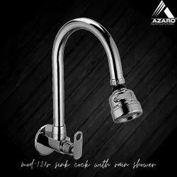 Brass Silver Sink Cock Rain Shower Azaro Modi