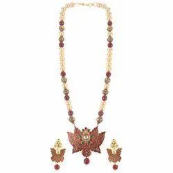 Fashion Jewellery Beaded Mala Necklace Earrings Set