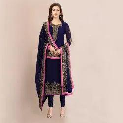 Wedding Wear Georgette Embroidery Salwar Suits(G44-Blue)