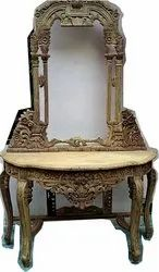 Maharaja Handicraft Rectangular Antique Wooden Console Table Set, For Home, Size: 120x40x76,120x150