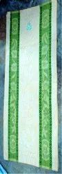 Cotton White & Green Embroidered Bath Towel, For Bathroom, Size: 30x60 Inch