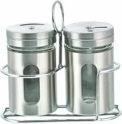Stainless Steel Salt Pepper Shaker Set With Stand