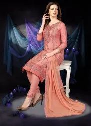 A-Line Unstitched Nivah Fashion Ethnic Wear Cotton Embroidery Dress Material, Handwash