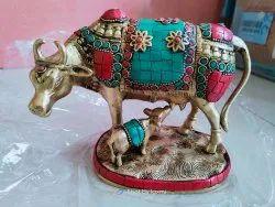 Nirmala Handicrafts Exporter Metal Brass Stone Finish Kamdhenu Cow With Calf Gift Showpiece