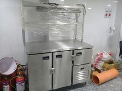 Stainless Steel Undercounter Refrigerator With 2 Overhead Shelf