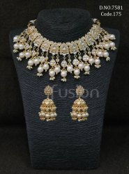 Fusion Arts Pearl Kundan Necklace Set