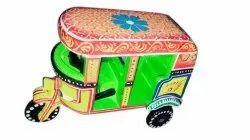 Antique Wooden Hand Painted Auto Rickshaw toy, For Decoration, Size: 7 X 4 X 5 Inch
