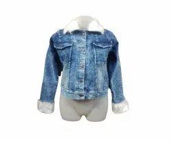 Full Sleeve Blue Ladies Denim Fur Jacket, Size: Medium