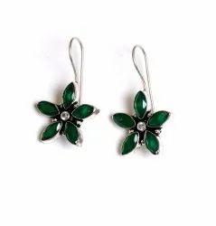 Green Quartz Gemstone Silver Plated Women Earrings