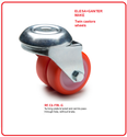 Caster Wheels Injected polyurethane coating twin castors