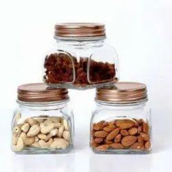 Glass Storage Jar Set With Airtight Golden lid, Set of 3, 500 Ml Each (H34-500)