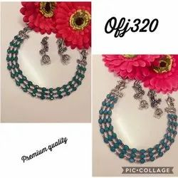 blue and agreen Oxidised Necklace Set, Occasion: Party, Size: Normal