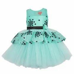 Party Wear Women TBJN2031SG Toy Balloon Kids Girls Sea Green Dress, Size: 2-12 Years