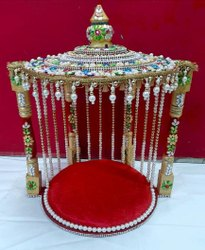Wooden Color Coated Piller Singhasan for Laddu Gopal Ji Thakur Ji Krishna Ji, For Home