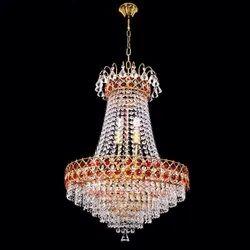 Jhumar Glass 480mm Coloured LED Chandelier, For Indoor