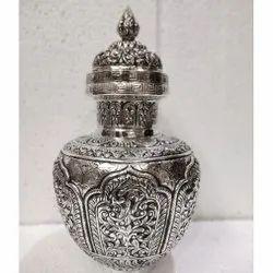 Brass Silver Plated Kalash/Flower Vase For Decoration