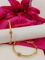 Golden Party 13gm Artificial Brass Bangle, Size: 8