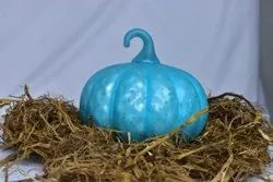 Painting Blue 6 inch Decorative Glass Pumpkin, For Interior Decoration