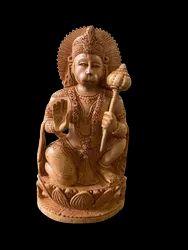 Hanuman JI Wooden Murti 8 inch in sitting