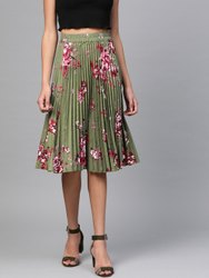 Crepe Long Ladies Green Printed Skirt, Size: Large