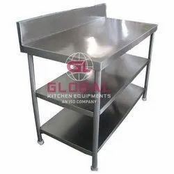 Stainless steel S.S.Working Table (Double Under Shelf), Number of Shelves: 2