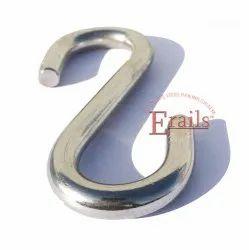 Silver Screw in S Shape Stainless Steel Hook, Size: 6mm